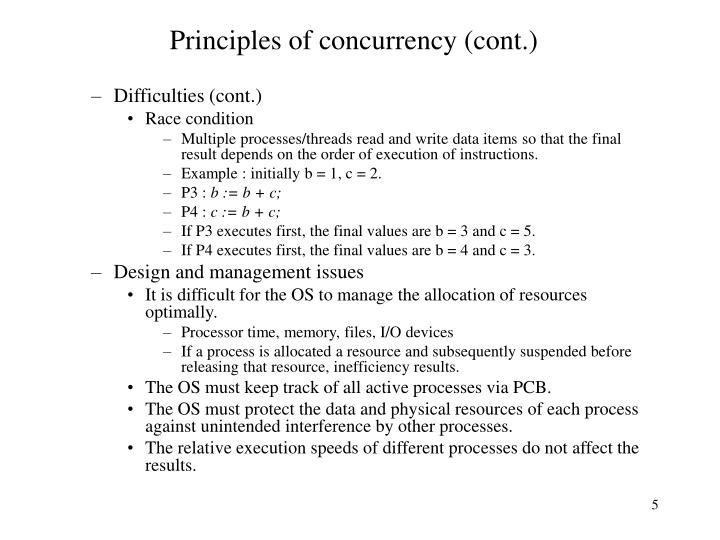Principles of concurrency (cont.)