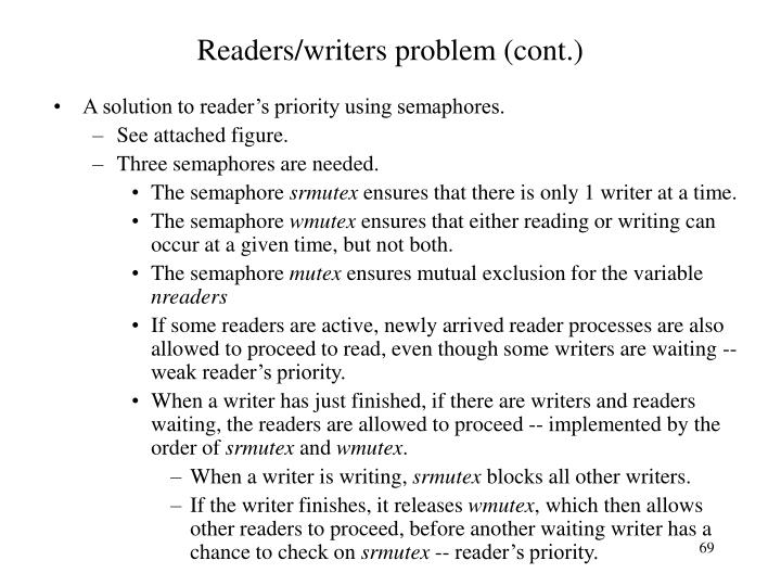Readers/writers problem (cont.)