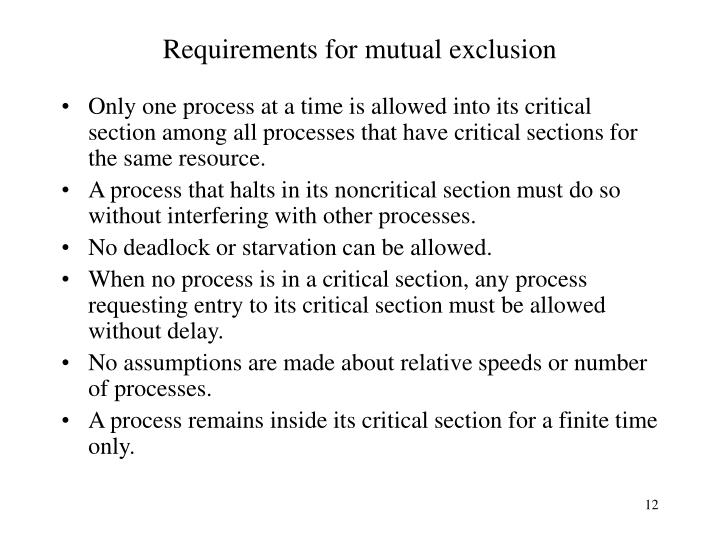 Requirements for mutual exclusion