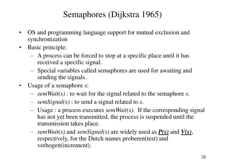 Semaphores (Dijkstra 1965)