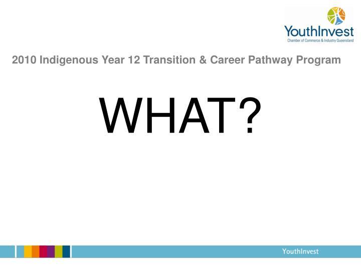 2010 indigenous year 12 transition career pathway program