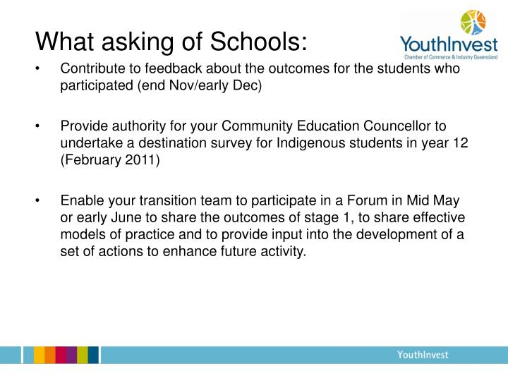 What asking of Schools: