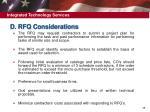 d rfq considerations