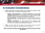 g evaluation considerations