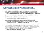 h evaluation best practices con t