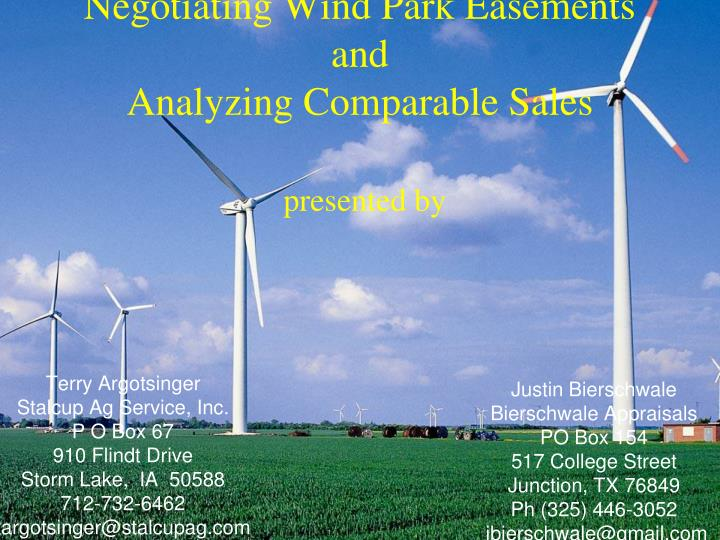 negotiating wind park easements and analyzing comparable sales presented by n.