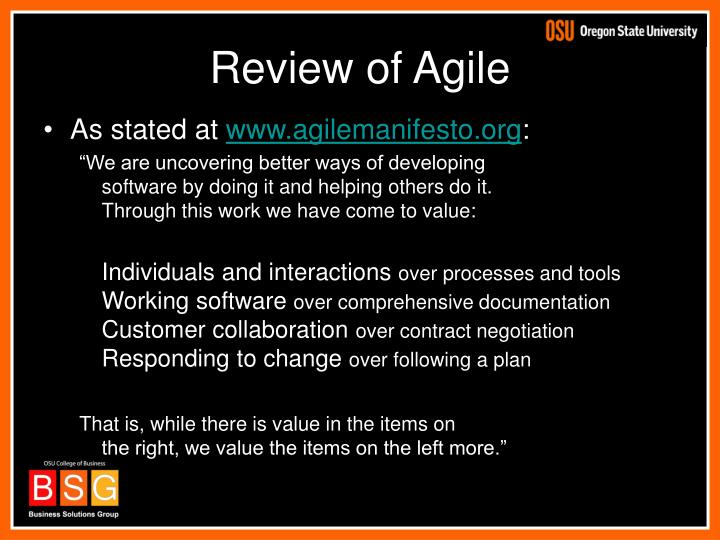 Review of Agile