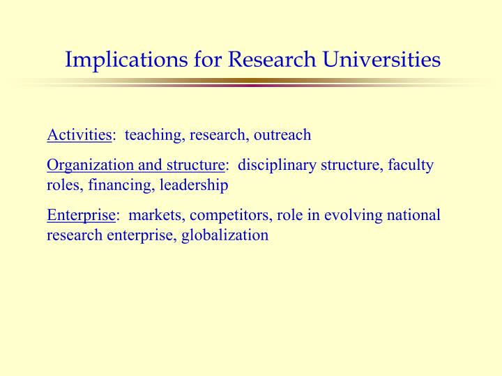 Implications for Research Universities