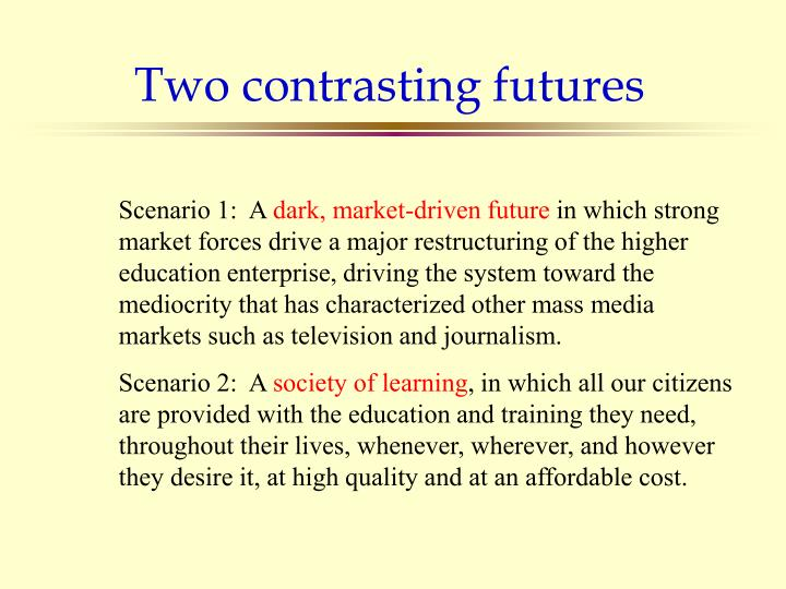 Two contrasting futures