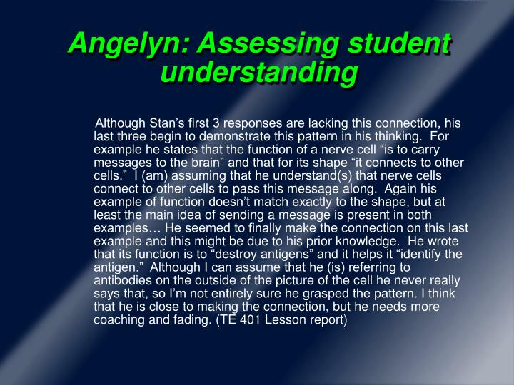 Angelyn: Assessing student understanding