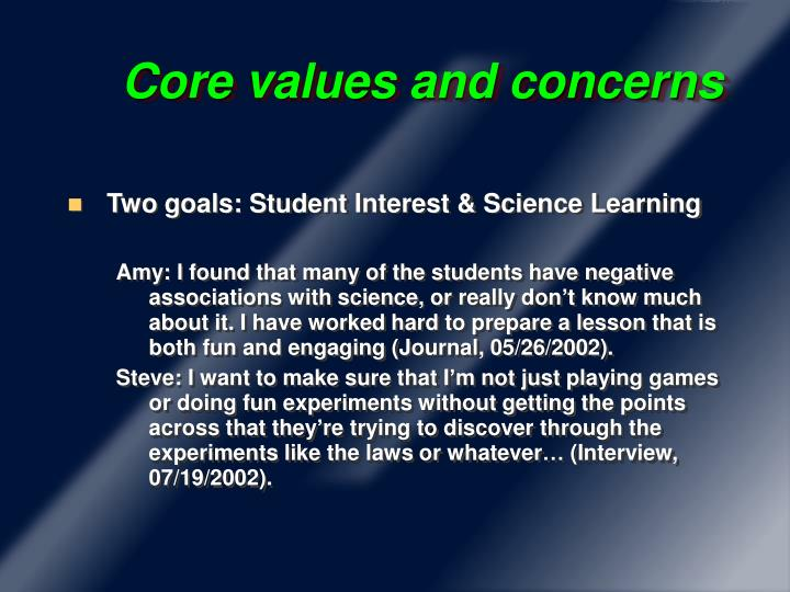 Core values and concerns