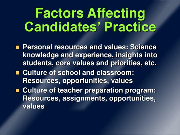Factors Affecting Candidates' Practice