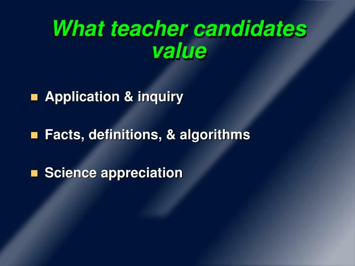 What teacher candidates value