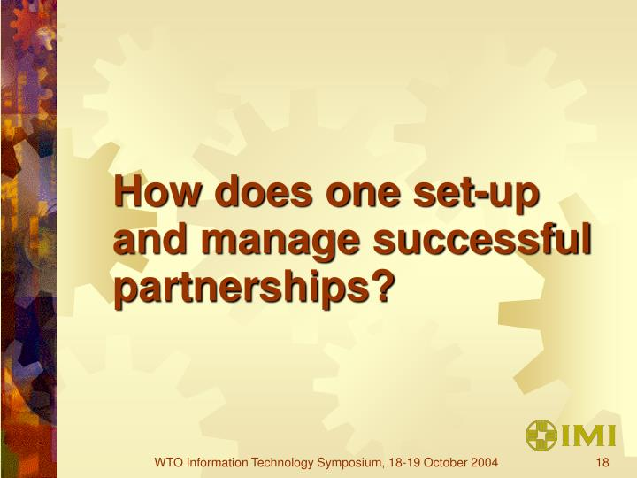 How does one set-up and manage successful partnerships?