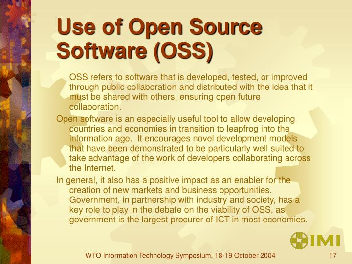 Use of Open Source Software (OSS)