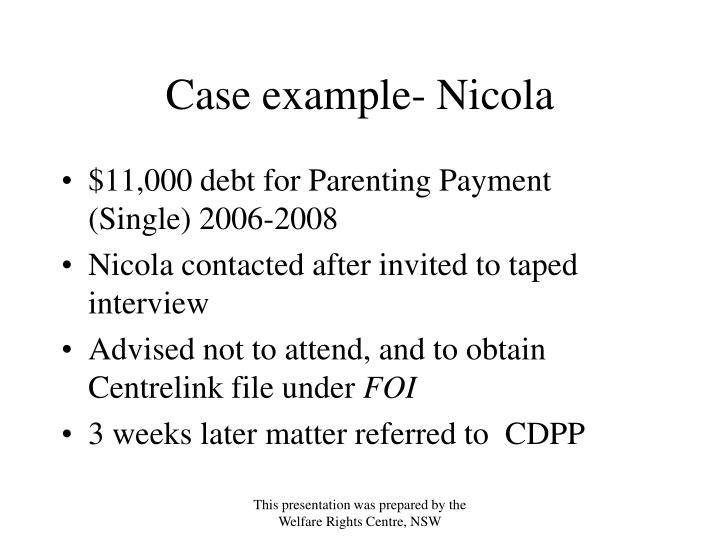 Case example- Nicola