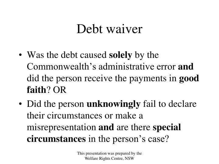 Debt waiver