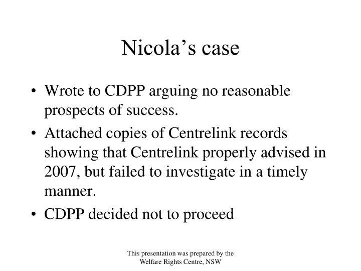Nicola's case