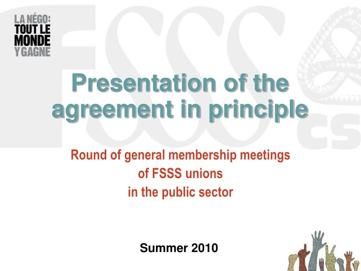 presentation of the agreement in principle n.
