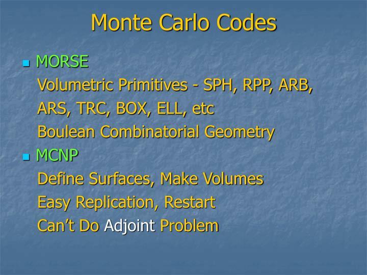 Monte Carlo Codes