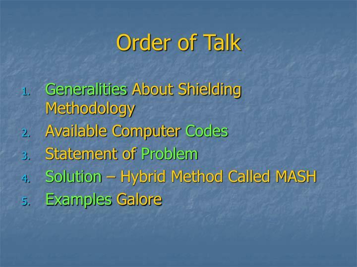 Order of talk