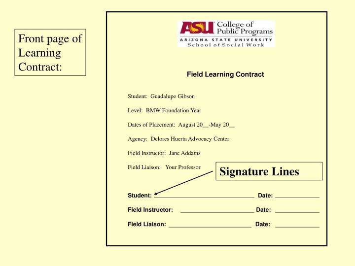 Field Learning Contract