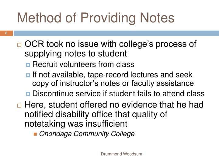 Method of Providing Notes