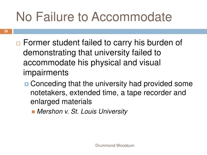 No Failure to Accommodate