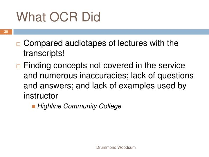 What OCR Did