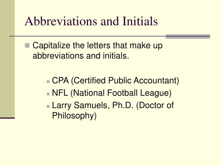Abbreviations and Initials