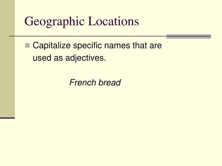 Geographic locations1