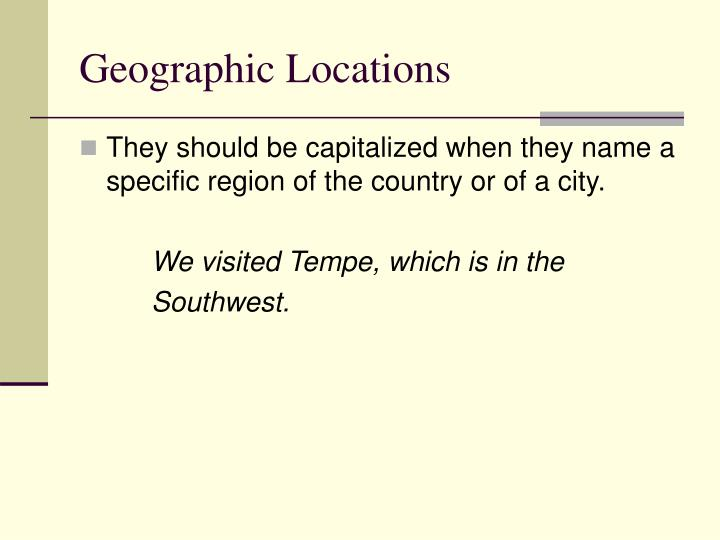 Geographic Locations