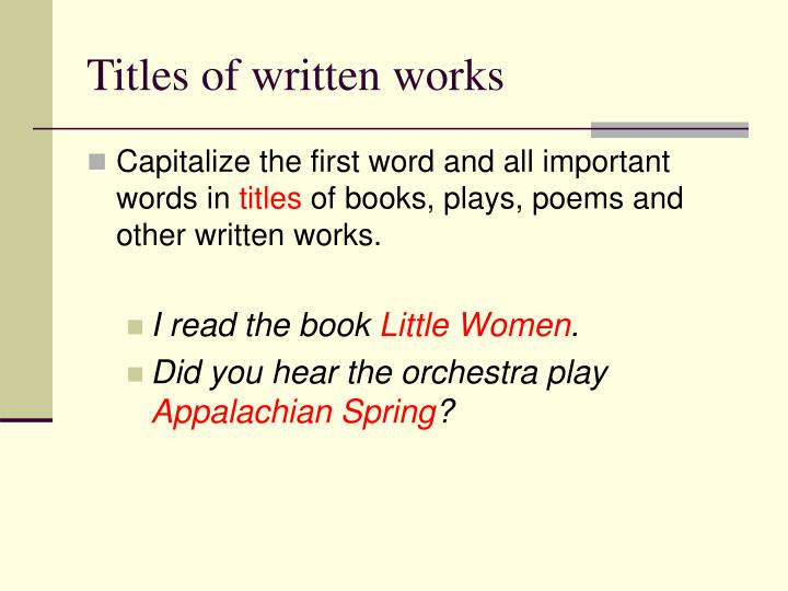 Titles of written works