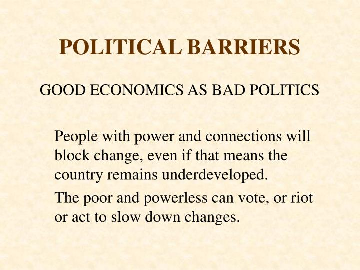 POLITICAL BARRIERS