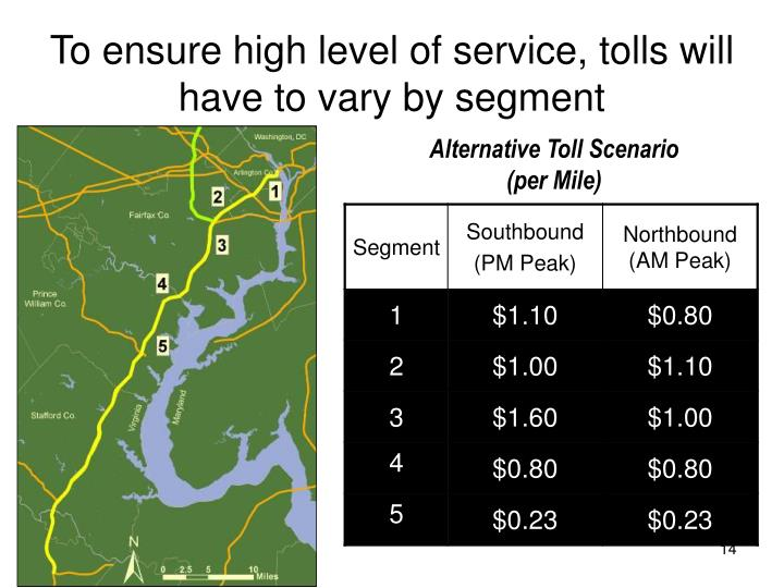 To ensure high level of service, tolls will have to vary by segment