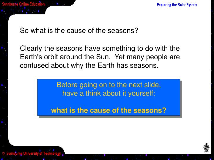 Clearly the seasons have something to do with the Earth's orbit around the Sun.  Yet many people are confused about why the Earth has seasons.