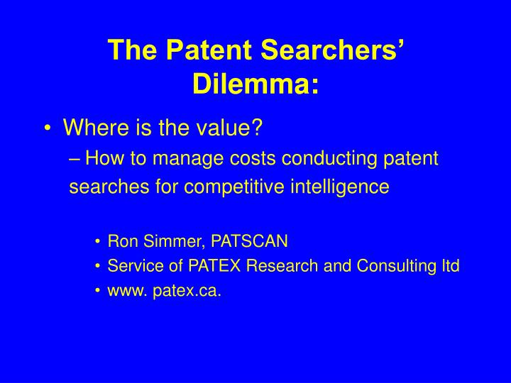 the patent searchers dilemma n.