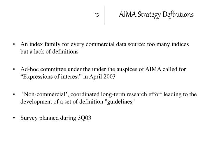 AIMA Strategy Definitions