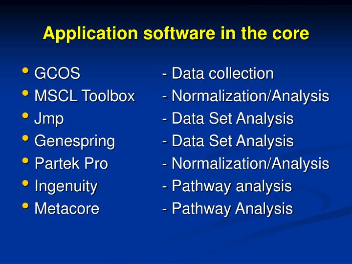 Application software in the core
