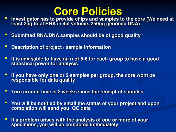 Core Policies
