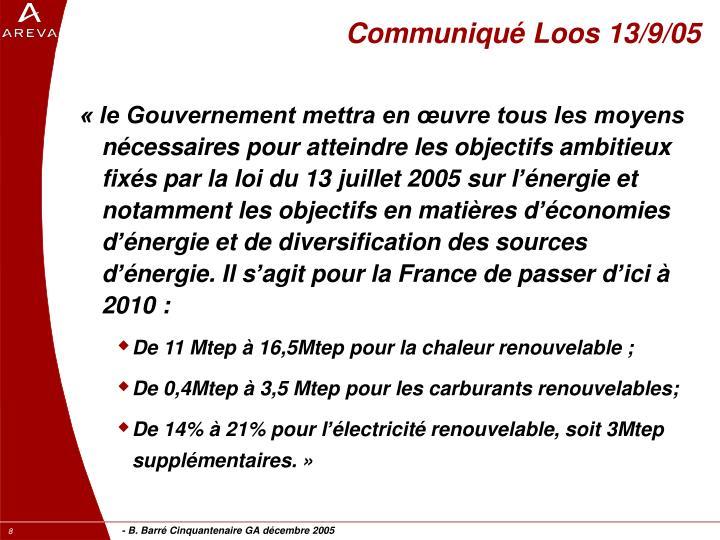 Communiqué Loos 13/9/05