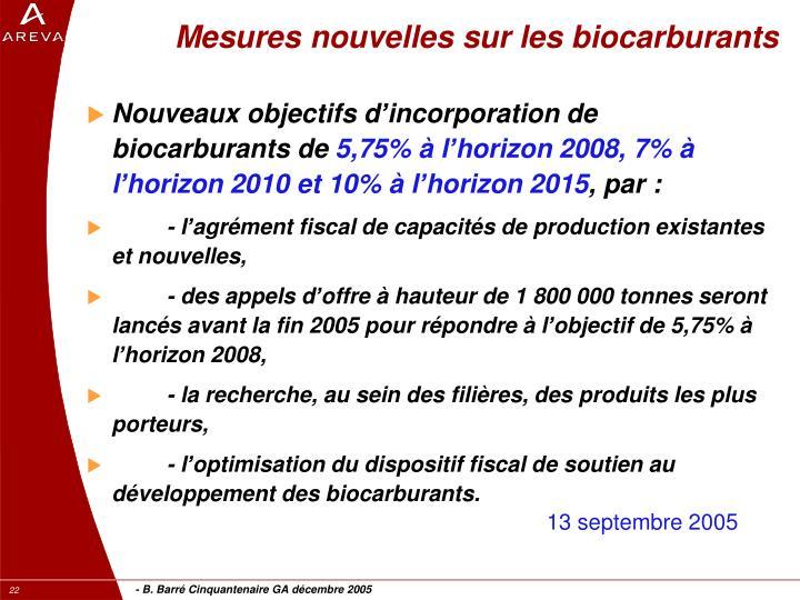 Mesures nouvelles sur les biocarburants