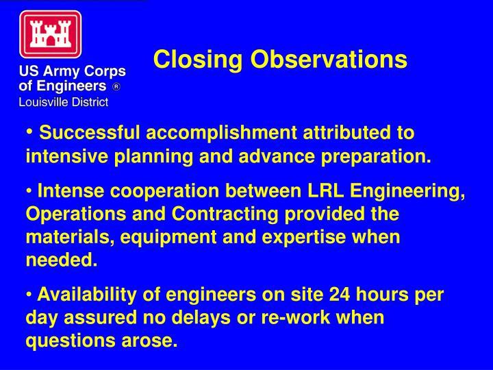 Closing Observations