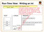 run time view writing an int