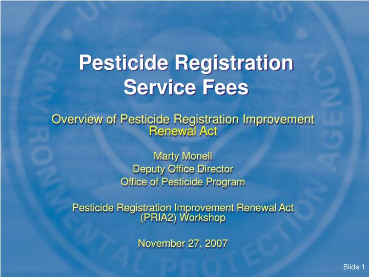 pesticide registration service fees n.