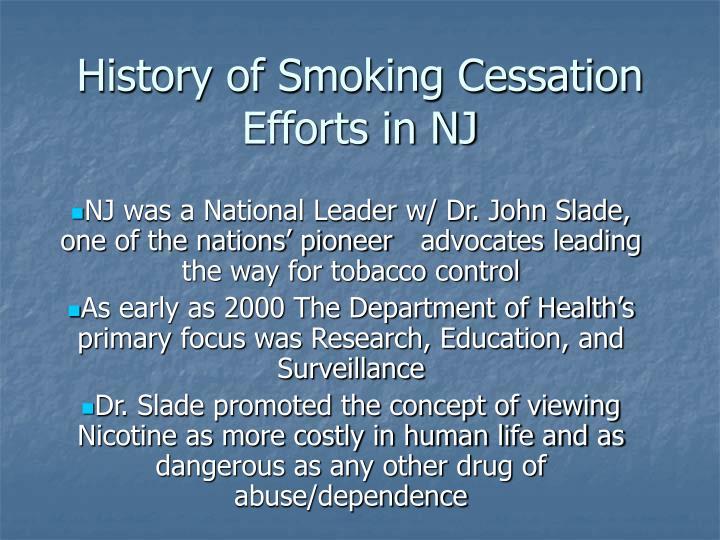 History of smoking cessation efforts in nj