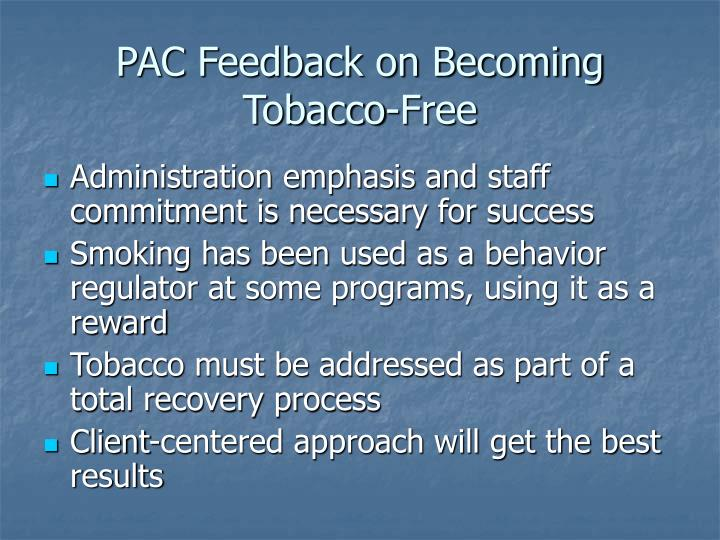 PAC Feedback on Becoming Tobacco-Free