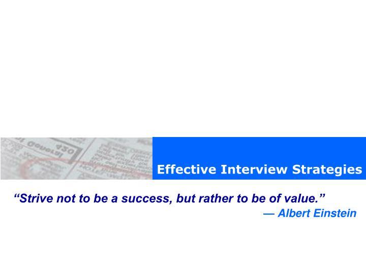 Effective Interview Strategies