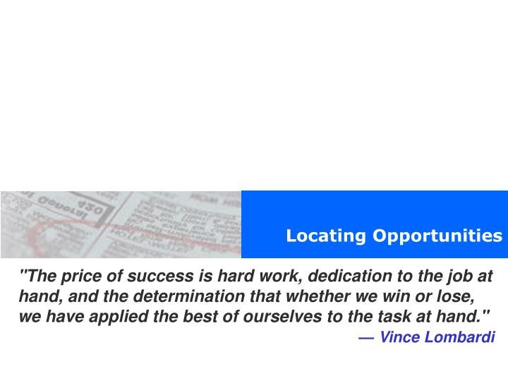Locating Opportunities