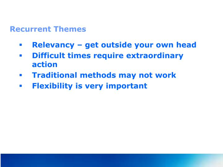 Recurrent Themes